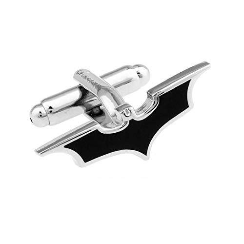 2 PCS Bat Gemelos de Juego de los Hombres con Estilo con Botones puños Decoración de la Manga Negro y Astilla Arte del Maquillaje