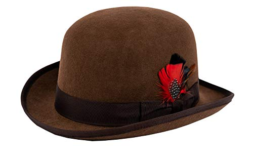Different Touch 100% Wool Felt Derby Bowler with Removable Feather Fedora Hats (XL, Brown)