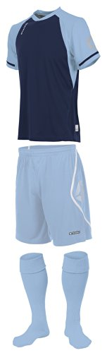 Stanno Liga – Marineblau/Himmelblau, kurzärmliges Fußballtrikot – Shirts, Shorts, Socken Gr. S/XL, Navy/Sky
