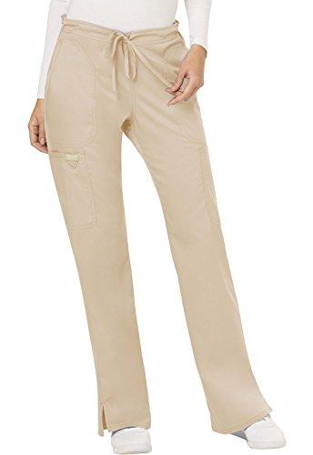 Cherokee Women's Mid Rise Moderate Flare Drawstring Pant, Khaki, Small