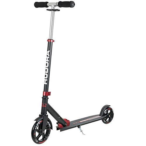 HUDORA Unisex Jugend Bold Wheel Scooter, rot/schwarz, 180/145mm