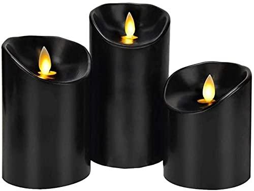 flipworld Velas de simulación, velas negras sin llama, tipo de columna de cera suave real velas LED eléctricas con mechas de llama móvil, 3 piezas por paquete