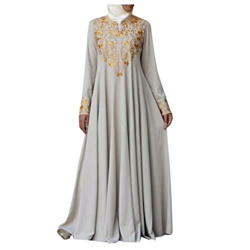 CAOQAO Bedrucktes Schlankes Kleid Damen Muslim Maxi Langes Kleid Dubai Abaya Robe Islam Kaftan Print Langarm BeiläUfig Partei Kleid Bedrucktes Schlankes Kleid