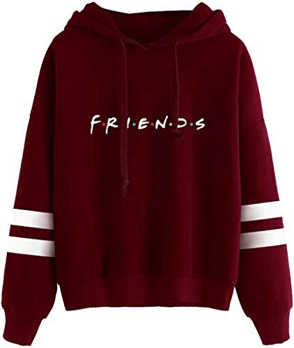 EMLAI Mujer Sudaderas con Capucha Amigo Friends Programa de televisión Suéter con Capucha Divertido Moda Tops (M, Vino Rojo)
