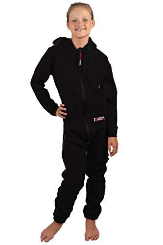 Gennadi Hoppe Kinder Jumpsuit - Jungen, Mädchen Onesie Jogger Einteiler Overall Jogging Anzug Trainingsanzug, schwarz,158-164 - 7