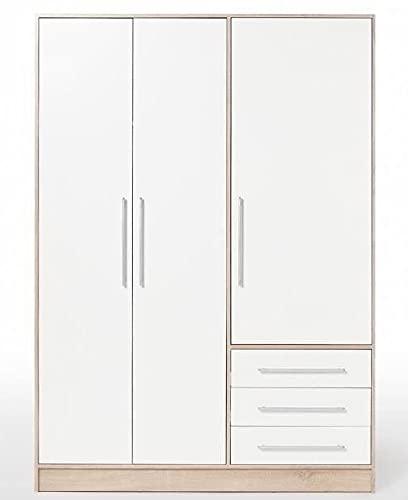 AVANTI TRENDSTORE - Felippo - Armadio ad ante battente con 3 ante e 3 cassetti. Disponibile in diversi colorazioi. Dimensioni LAP 145x200x60 cm. (quercia Sonoma/bianco)