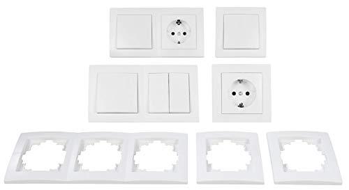 McPower Flair - Wand Steckdosen und Schalter Set mit Kindersicherung | Flur | 13-teilig | weiß