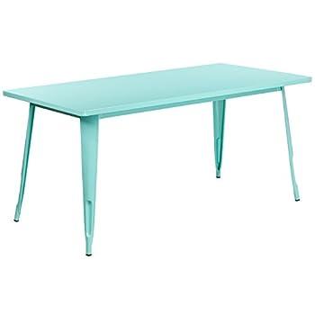 Flash Furniture Commercial Grade 31.5  x 63  Rectangular Mint Green Metal Indoor-Outdoor Table