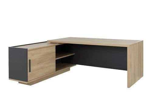 Bureau avec Retour Gauche Gautier Collection Brabant Largeur 180 cm, Finition Chêne du bocage/Anthracite