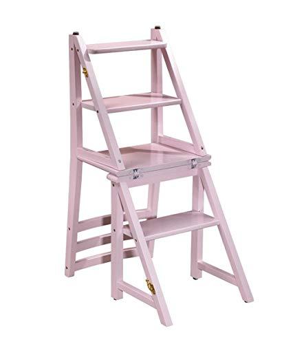 CHGDFQ Taburete multifuncional de madera maciza silla plegable rosa 4 pasos escalera taburete madera taburete adulto zapatero flor