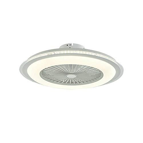 Futchoy - Ventilador de techo LED (60 W, con iluminación LED y mando a distancia, regulable, silencioso, lámpara de techo para salón, dormitorio, habitación de los niños, 3 colores), color blanco