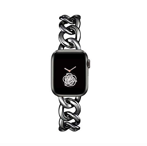 40mm Black Cool Chain Metal Bands for Women Apple Watch SE Series 5 Series6 38mm Man Replacemnet Band for Iwatch SE Series 6/5/4/3/2/1