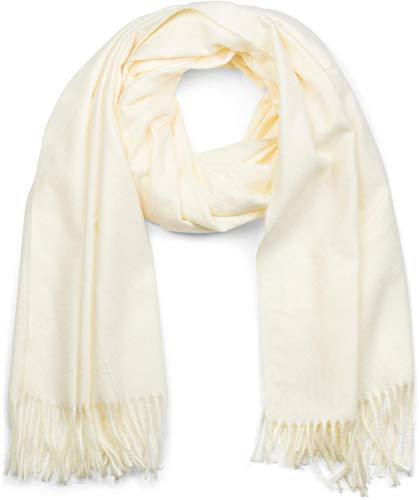 styleBREAKER Unisex weicher uni Schal mit Fransen, Winter, Stola, Tuch 01017104, Farbe:Creme