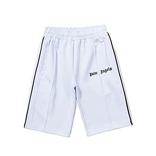 Shorts Palm Angel Casual Shorts Klassische Hosen Männer und Frauen Liebhaber Sommer Side Rainbow Striped Ribbon Rainbow Retro Sports Shorts (L,Weiß)