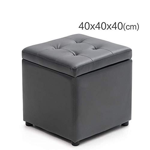QQXX lederen kruk, modieus, kleine bank, creatief, eenvoudig en robuust (afmetingen: 40 x 40 x 40 cm) TENW1094r-2 Tenw1094r-2