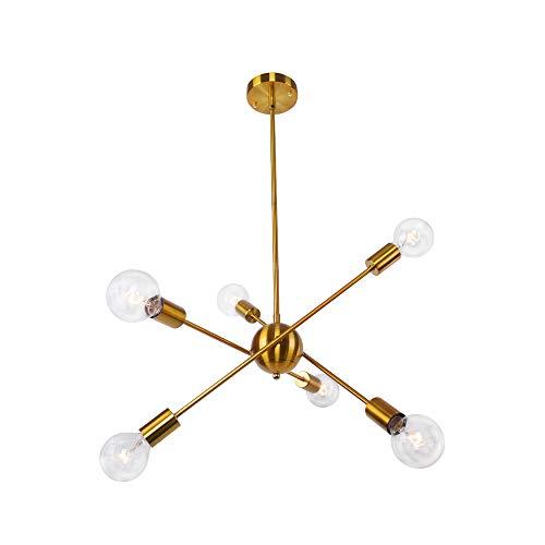 OYIPRO Sputnik Iluminación Colgante, 6-Luces Iluminación de Techo, Moderna Lámparas, Altura Ajustable 4x25cm, Oro para la Cocina, Comedor, Dormitorio, Café