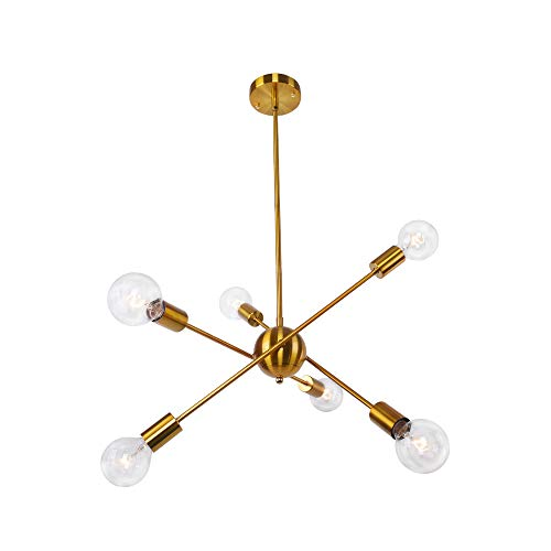 OYIPRO Sputnik Kronleuchter Pendelleuchte 6-Flammig Hängelampe Verstellbaren Armen Einstellbare Höhe 4x25cm E27 Lampenfassung Metall für Esszimmer Wohnzimmer Schlafzimmer Küche
