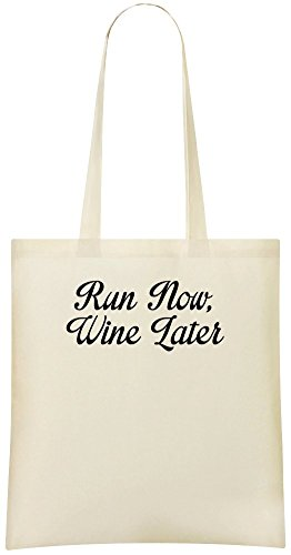 Lauf jetzt, später Wein - Run Now, Wine Later Custom Printed Shopping Grocery Tote Bag 100% Soft Cotton Eco-Friendly & Stylish Handbag For Everyday Use Custom Shoulder Bags
