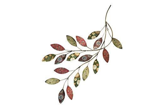 Kobolo Wandbild Wanddekoration Metallbild - Zweig mit Blättern - Metall - 30x65 cm