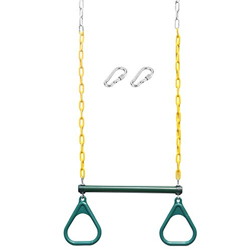 """18"""" Trapeze Swing Bar Rings - 48"""" Heavy Duty Plastic Coated Chains - Swing Set Accessories"""