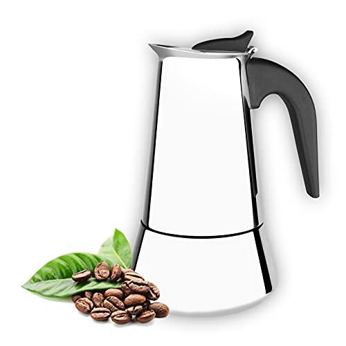 Cafetera italiana 9 tazas para induccion,gas y vitroceramica. De acero inoxidable, diseño ergonomico, portatil,estilo vintage, para uso domestico, oficina o al aire libre.