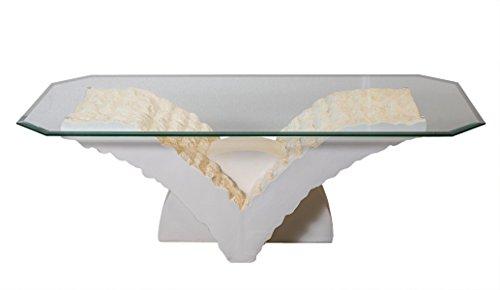 Antikes Wohndesign Couchtisch Wohnzimmertisch Beistelltisch Tisch Steintisch Fossiltisch NEU weiß-matt-antikfinish