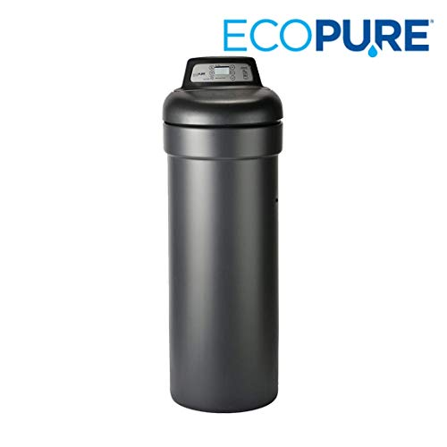 EcoPure EP31 31,000 Grain Softener | NSF Certified | Salt & Water Saving Autosense Technology for Whole House Soft Water Regeneration, Dark Gray