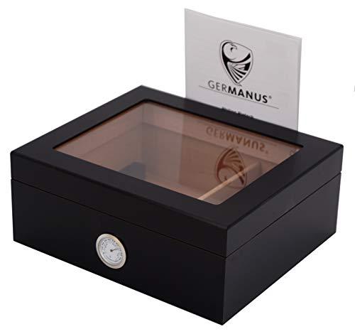 """GERMANUS, Humidor, umidificatore per sigari """"Black Beauty"""", che può contenere all'incirca50sigari, colore nero"""