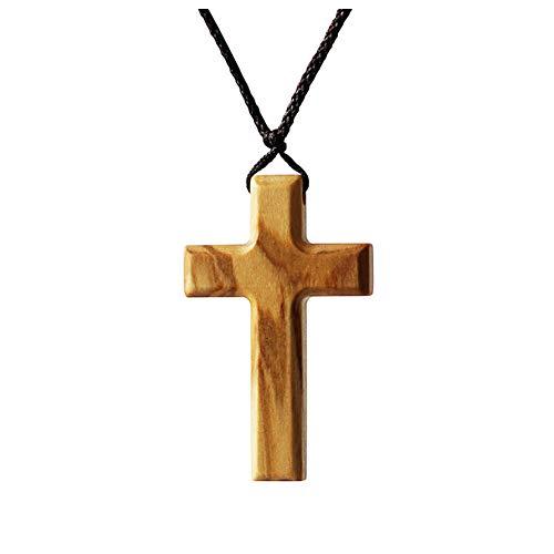 Einfache Olivenholz Kreuz Anhänger Halskette für Männer Frauen Jungen Mädchen Holz Geschenk Halskette