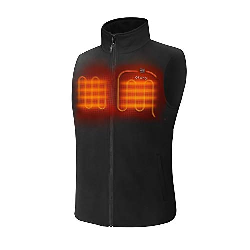 ORORO Men's Fleece Heated Vest with Battery Pack(Black, L)