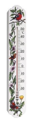 TFA Dostmann Innen- und Außenthermometer, 12.3040.20, Rotkelchen- / Schmetterlingsdesign, wetterfest, hergestellt in Deutschland, weiß
