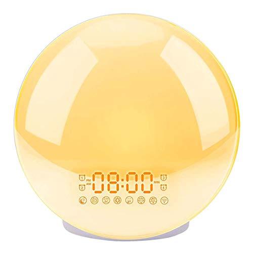 XJYA Sonnenaufgang Wecker,Clever Aufwachen,8 Alarme sind optional Simulation und Sonnenuntergang verblassen Nachtlicht für Schlafzimmer mit UKW-Radio/Schlummer /3-stufige Zeithelligkeit