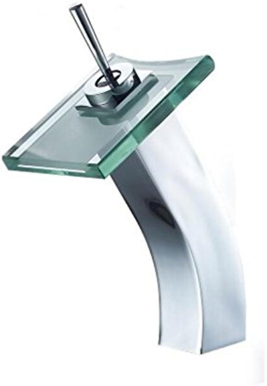 ZHANG14 Chrom Wasserfall Glasauslauf Arbeitsplatte Waschbecken Wasserhahn Becken Mischbatterie Einzigen Handgriff Wasserfall Auslauf, A