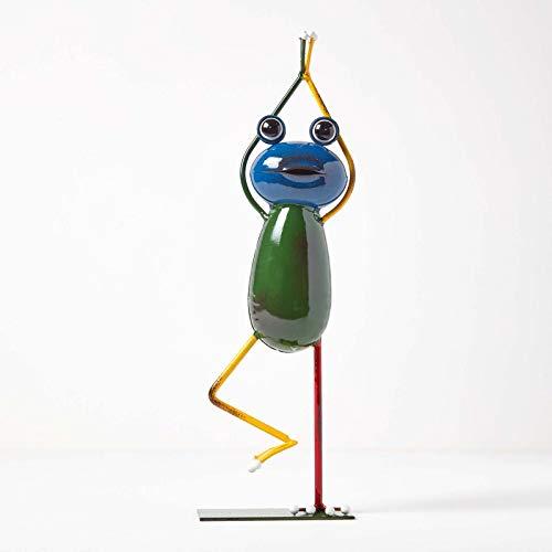 Figura decorativa de metal Homescapes para el jardín, diseño de rana, hecha a mano, de hierro, para interiores y exteriores, figura de jardín para estanque y balcón, multicolor aprox. Altura: 43 cm.