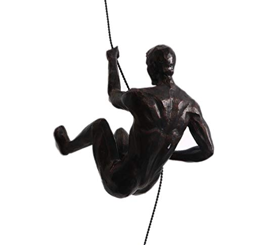 1PC Metal Vintage Ornamento De Estatuas De Pared De Hombres Escaladores - Creativo Colgante Escalador De Roca Estatuilla De Resina Art Décor De Oficina En Casa Arte De La...