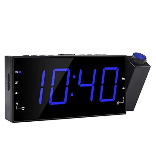 BBOOY Reloj De Proyección Junto A La Cama, Reloj Despertador Electrónico con Función De Repetición, Reloj De Proyección De Radio FM, Reloj De Techo con Proyección Giratoria De 180 °