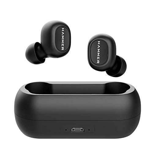 Hammer Solo Truly Wireless Bluetooth V5.0 Earbuds with Charging Case, Compatible with Android & iOS (Black)