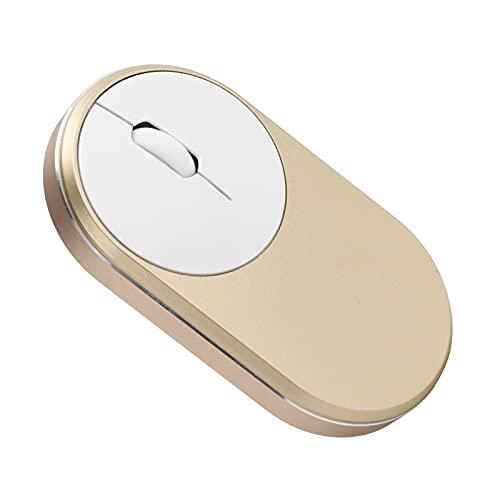 Ratón óptico, Material del ABS del ratón de Bluetooth Plug and Play con Cable de Carga para el Cuaderno de la PC del Mac de Windows(Golden)