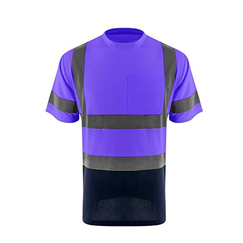 ZUJA Safety High Visibility Standard Short Sleeve Breathable Mens Construction T-Shirts Bright Reflective Protective Workwear(Purple,2XL)