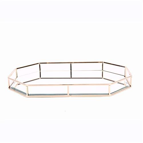 Bandeja del titular de la joyería de la vela del p Bandeja de Vanity Vintage decorativo del hogar bandeja de cristal de espejo del metal for el maquillaje y JewelryOrganizer Pantalla Bandeja Bandeja d
