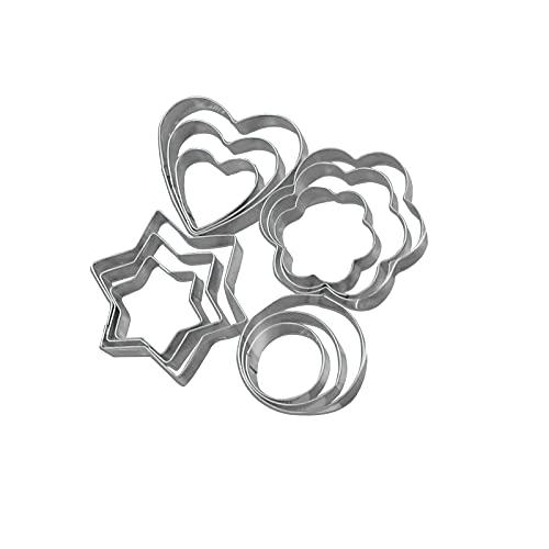 WALTTER Juego de cortadores de Galletas de 12 Piezas, cortadores de Galletas Redondos de Acero Inoxidable en Forma de corazón, utilizados para Cortar Galletas, Queso, Chocolate, Huevos