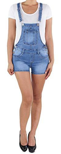 Sotala Damen Hotpants Latzhose Kurze Latz Hose Shorts Latzshorts Hot Pants Denim Latzjeans Overall Jumpsuit (A) Blau 36 (S)