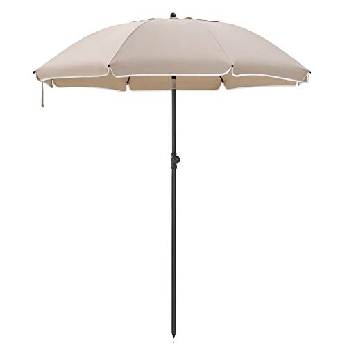 SONGMICS Sonnenschirm, Ø 180 cm, Sonnenschutz, achteckiger Strandschirm aus Polyester, Schirmrippen aus Glasfaser, knickbar, mit Tragetasche, Garten, Balkon, Schwimmbad, TaupeGPU65BRV1