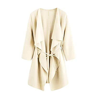 JPOQW-autumn Women's Cardigan Windbreaker Solid Color Pocket Jacket Top Casual Long Coat Blouse