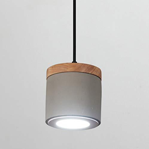 5W LED-Pendelleuchte Modern Industrie, LED-Hängelampe aus Beton und Holz, Hängeleuchte Zylindrische, LED-Deckenbeleuchtung LED-Strahler LED-Spot LED-Leuchte IP20 Höhenverstellbar (Warmweiß, Ø 12 cm)