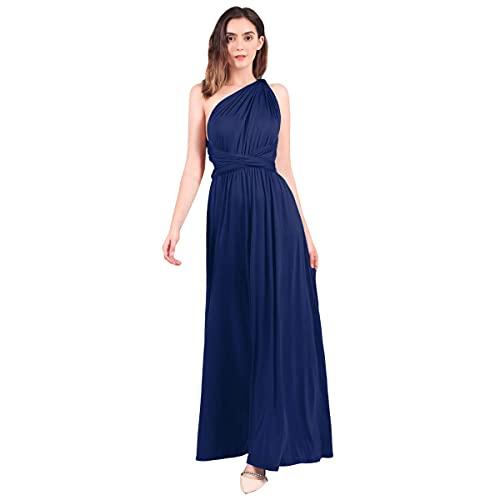 Sweetop Vestidos mujer ropa mujer vestidos mujer verano vestidos de boda maxi sin espalda con cuello en V sexy Marina militar. XL