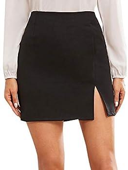 WDIRARA Women s Summer Solid Split Hem Zip Back Mini workear Skirt Black L