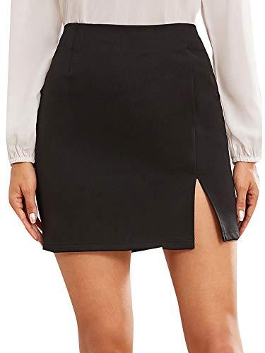 WDIRARA Women's Summer Solid Split Hem Zip Back Mini workear Skirt Black M
