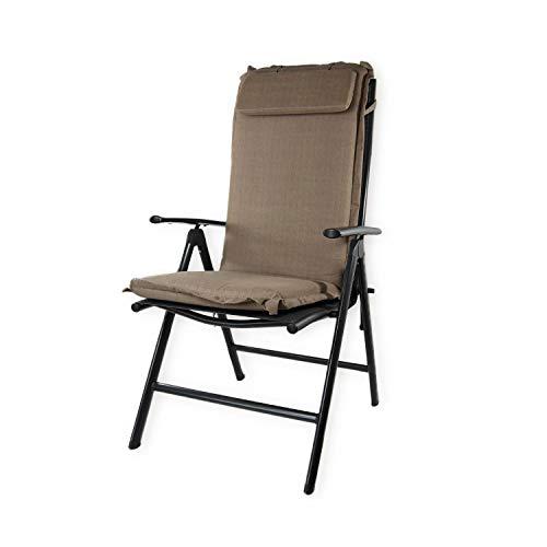 Nordje Gartenmöbelauflage   120x50x8 cm   Hochlehner   mit Kopfkissen   Top Qualität Produkt   Sitzkissen Outdoor (Taupe)