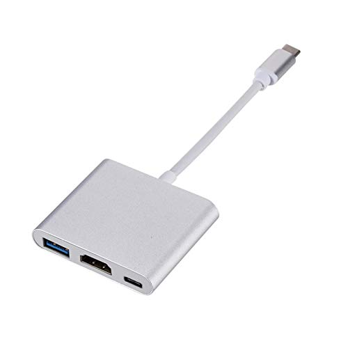 CMDZSW USB C Hub to HDMI Adapter para MacBook Pro/Air Thunderbolt 3 USB Tipo C Hub to HDMI 4K USB 3.0 Puerto USB-C Entrega de energía (Color : Gray)